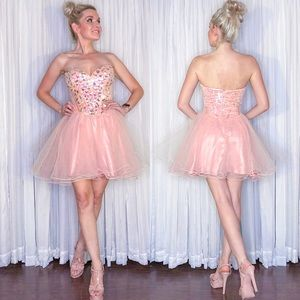 Pink Sparkly Fir Flair Homecoming Dress
